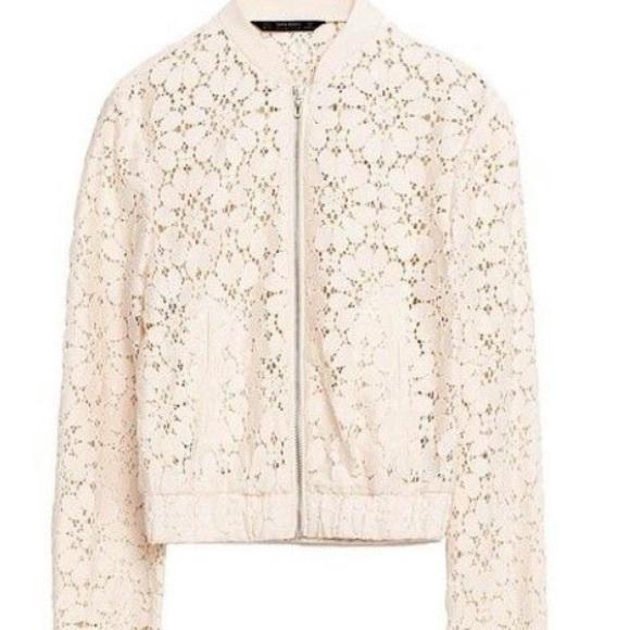 bb6b3caa Zara Jackets & Coats | Cream Lace Bomber Jacket | Poshmark